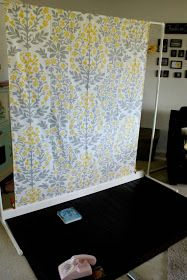 How to make a fabric backdrop with floor trim