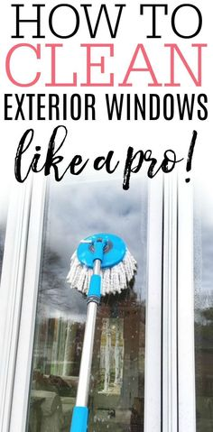 Check out how to clean your exterior windows like a pro! These easy tips get rid… Check out how to clean your exterior windows like a pro! These easy tips get rid of hard water and leave your windows without streaks. Deep Cleaning Tips, House Cleaning Tips, Cleaning Solutions, Cleaning Hacks, Window Cleaning Tips, Diy Hacks, Window Cleaning Products, Best Window Cleaning Solution, Spring Cleaning Tips