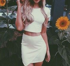 #summer #fashion / white crop top + asymmetrical skirt