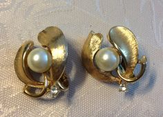 Trifari Clip On Earrings Gold Tone with Pearl by vintagerepublic1, $14.00