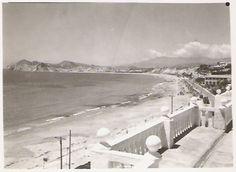 Benidorm's Poniente beach, views from our Hotel (called Miramar in the past) / Vistas de toda la playa de Poniente desde el Hotel Miramar antes de ser el actual Montemar (1960 aprox.)  http://www.hmontemar.com