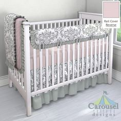 Crib bedding in Solid Pale Pink, Gray Traditions Damask, Solid Cloud Gray, Pink Dimpled Minky, Silver Gray Minky. Created using the Nursery Designer® by Carousel Designs where you mix and match from hundreds of fabrics to create your own unique baby bedding. #carouseldesigns