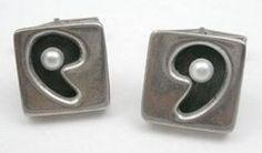 Sterling & Pearl Modernist Cuff Links - Garden Party Collection Vintage Jewelry