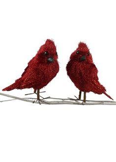 Red tinsel birds!