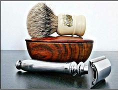Edwin Jagger: Men's 3Piece Shaving Set: Shaving Hair Brush, Shaving Soap Bowl & Edwin Jagger Silver Razor. Classic Best Badger (Simpson) - Made in Sheffield, England.