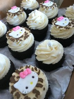Hello Kitty (Inspired)  Leopard Print Cupcake toppers. $25.00, via Etsy.
