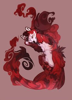 Red swirly wolf.