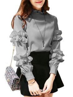 Buy Women's T Shirt Ruffle Solid Breathable Comfy Stylish Fashion Top & T-shirts - at Jolly Chic Kurti Sleeves Design, Sleeves Designs For Dresses, Sleeve Designs, Stylish Dresses, Cute Dresses, Modest Dresses, Denim Dresses, Short Dresses, Girls Fashion Clothes
