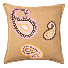 Greendale Home Fashions Paisley Burlap Throw Pillow, Pink