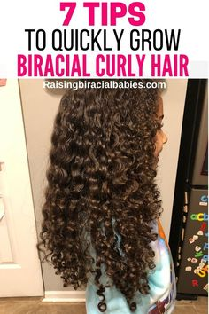 Want to know how to grow curly hair faster? You need to read these 7 tips to get longer curly biracial hair! curly hair How To Grow Biracial Hair: 7 Tips To Get Longer Curly Hair Mixed Curly Hair, Dark Curly Hair, Curly Hair Tips, Curly Hair Care, Curly Girl, Kids Curly Hair, Curly Hair Growth, Diy Hair, Curly Hair Styles