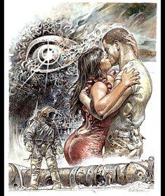 Druuna  Artist: Paolo Eleuteri Serpieri Heavy Metal Magazine erotic classic comics Serpieri, Erotica, Heavy Metal, Lion Sculpture, Statue, Anime, Painting, Metal Magazine, Classic Comics
