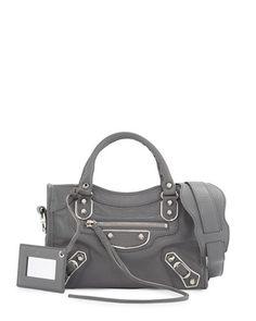 134cd589f7 L0P3D Balenciaga Metallic Edge City Mini Bag, Gris Acier Balenciaga Mini  City Bag, Edge