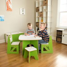 Great table for kid's crafts! Perfect size for kids, and sturdy enough for parents to join in the fun. Sprout's modern kids table & chairs/stools are a fun addition to any kid's playroom or bedroom. Learn more at Sprout.