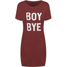 Faith Boy Bye T-Shirt Dress ❤ liked on Polyvore featuring dresses, tee shirt dress, red t shirt dress, t-shirt dresses, red dress and tee dress
