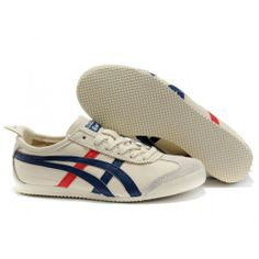 Asics Onitsuka ASNO899 Tiger Mexico Womens Shoes Beige Blue Red - Onitsuka Tiger Womens Mexico 66