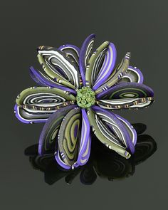 Petals Brooch in Violet Mix by Arden Bardol: Polymer Clay Brooch available at www.artfulhome.com
