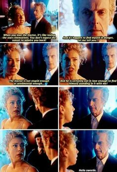 I absolutely love this scene because all this time she never knew the Doctor had regenerated and he had been with her all this time. The Doctor knew River had feelings for him that's a given, but he never knew how deep until now.
