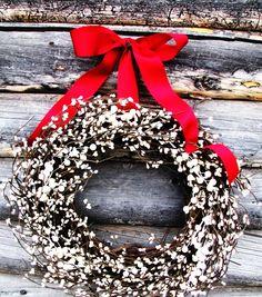 WOODLAND WEDDING WREATH--White Wreath-Rustic Door Wreath-Custom Wedding Decor-Scented Vanilla Sugar- Choose Scent & Ribbon on Etsy, $59.00