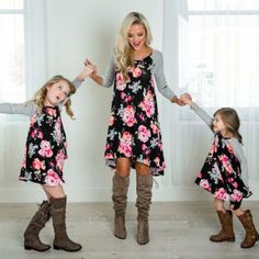 Floral Mother Daughter Dress Summer Casual Family Clothes Womens Girls Sundress Outfits - Mother Daughter Dresses - Ideas of Mother Daughter Dresses Sundress Outfit, Floral Dress Outfits, Dress Ootd, Mommy And Me Dresses, Mommy And Me Outfits, Mom Dress, Couple Outfits, Fancy Dress, Cute Long Sleeve Dresses