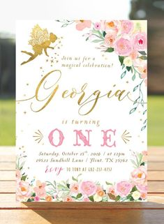Fairy Birthday Invitation - Pink Gold Fairy - Woodland - Flower Invite -  First Birthday Invite - Pi