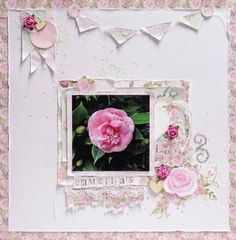 Layout created for July sketch True Romance, Romance And Love, Led Pencils, White Paints, Flourish, Scrapbooking Layouts, Love Story, Card Stock, Hot Pink