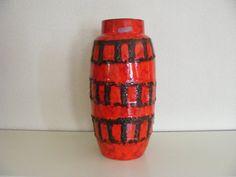 Orange Scheurich Fat Lava vase with railtracks decor door RetroVases