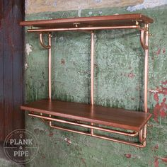Copper Pipe Shelving unit in an Industrial / Urban / Vintage style. 2 Tier Hand Crafted Shelves with African Sapele Hardwood. 15mm Copper Pipe, Copper Tubing, Copper Pipes, Craft Shelves, Wood Shelves, Copper Pipe Shelves, Pipe Shelving, Industrial Shelves, Handmade Shelving