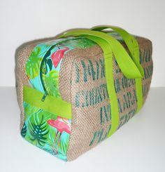 grand voyageur en sac de café recyclé et applications toile enduite flamands roses
