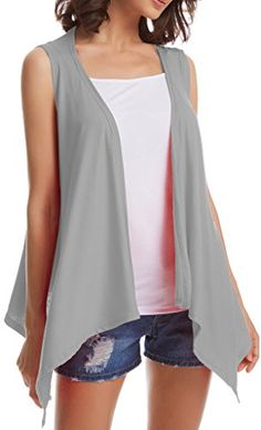 ADOREJOY Womens Sleeveless Draped Open Cardigan