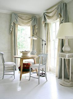 loose swag mounted on board - drapery window treatment style + color inspiration