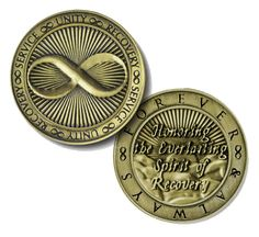 "Premium Bronze ""Infinity Coin"" - Honoring the Everlasting Spirit of Recovery Alcoholics Anonymous, Courage To Change, Serenity Prayer, Addiction Recovery, Sobriety, Infinity, Coins, Prayers, Spirit"