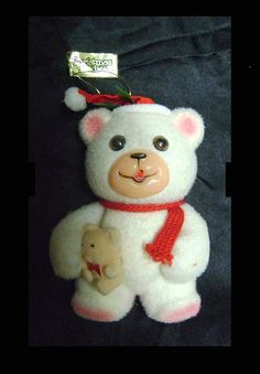 Vintage Flocked Teddy Bear Tree Ornament CHRISTMAS TEDDIES