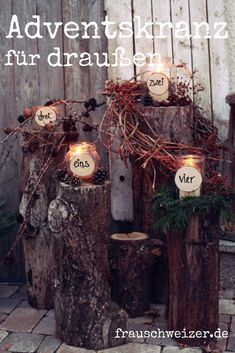 Advent wreath for outdoors 2018 - Ms. Schweizer - Advent wreath for outdoors, celebrate outdoor advent. Decoration on the doorstep. Advent wreath for - Wreath Boxes, Diy Wreath, Door Wreaths, Advent Wreaths, Christmas Diy, Christmas Decorations, Holiday Decor, Christmas Stockings, Outdoor Hammock