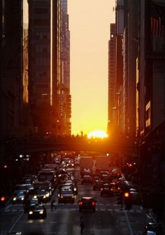 Beautiful! New York City, Sunset illuminating busy street. Click to see more inspired prints #CoolHunter #NewYork