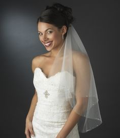 Two Layer Elbow Length Wedding Veil with Rhinestone Trim - so pretty! affordableelegancebridal.com