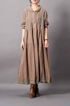 Buy Girlish Cotton Linen Loose Shift Dress Beautiful Crochet Lace Dress in Casual Dresses online shop, Morimiss offers Casual Dresses to make you feel comfortable Muslim Fashion, Boho Fashion, Fashion Dresses, Dresses Short, Casual Dresses, Crochet Lace Dress, Dress Lace, Oversized Shirt Dress, Lace Outfit