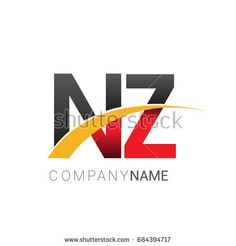 initial letter NZ logotype company name colored red, black and yellow swoosh design. isolated on white background. Business Card Template Photoshop, Construction Design, Initial Letters, Business Branding, Company Names, Logo Inspiration, Red Black, Identity, Finance
