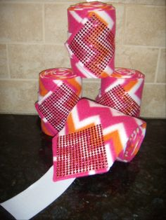 Custom set of 4 Horse Chevron Pinks Horse Polo Wraps with Pink Sparkle Bling $28