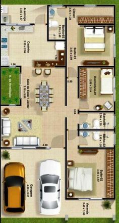 A floor plan, or floorplan, is a virtual model of a building floor plan, depicted from a birds-eye view, utilized within the building industry to Model House Plan, My House Plans, House Layout Plans, Bedroom House Plans, Small House Plans, House Floor Plans, The Plan, How To Plan, Layouts Casa