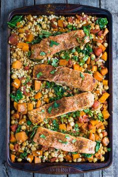 One Pan Salmon and Squash with Couscous- this recipe is made with a delicious Moroccan spice blend and is SO easy to throw together for dinner!