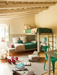 """Dormitorio con literas en """"L"""""""