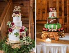 Get the best of both worlds with an elegant bridal cake and a fun groom's cake. || Megan McClelland & Austin Burks wedding in Fayetteville