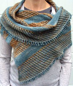 Knitting Pattern for Linen and Lace Wrap - Bands of solid color in half linen stitch alternate with multicolor yarn in linen lace stitch in this shawl to create a woven appearance with slipped stitches. A picot bind-off creates scallops. Designed by Molly Conroy. Pictured project by unirider