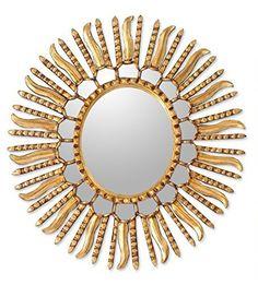Handmade Glass Winter Sun Mirror (Peru) - Gold - N/A (Solid), Novica Sun Mirror, Round Wall Mirror, Starburst Mirror, Mirror Room, Metal Wall Decor, Diy Wall Decor, Room Decor, Traditional Wall Mirrors, Cool Mirrors