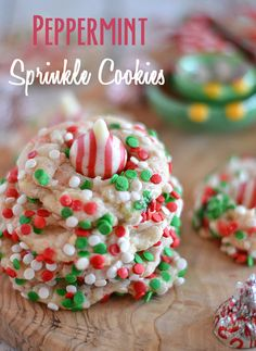 Peppermint Sprinkle Cookies | I fell in love with Pillsbury's peppermint cookie dough – this stuff smelled amazing right out of the package, and I knew I had to use it to make a fun holiday cookie.  While it's plenty yummy enough on its own, I jazzed up the dough rolling it in sprinkles and adding a Candy Cane Kiss on top. | Kitchen Meets Girl