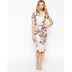 Figurbetontes Kleid aus Neopren mit Blumenmuster