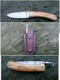 Sedlák jasanový, friction folder knife. Kovaná 19312, celková délka 210mm, čepel 95/28/2+ mm. Poudro hovězina 2mm