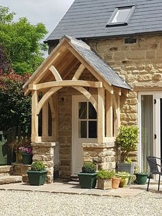 Large Green Oak Porch - Wide - Bespoke designs and sizes made Door Canopy Porch, Front Door Porch, Front Porch Design, Cottage Porch, Cottage Exterior, Bungalow Exterior, House With Porch, House Front, Porch Timber
