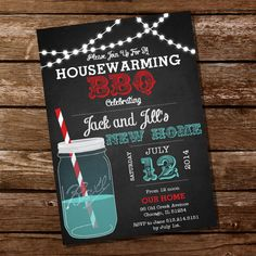 A Chalkboard Housewarming Mason Jar BBQ Grill Party Invitation. Three rows of fairy lights, white, red and blue fonts. FILE INCLUDES: Housewarming Party Invitation x (Print two invitations per page) All text is editable. Grill Party, Bbq Party, Bbq Grill, Housewarming Invitation Templates, Housewarming Wishes, Adobe Reader, Digital Invitations, Event Invitations, Invitation Wording