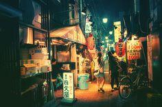 Fotografia de Tóquio durante a noite, por Masashi Wakui;